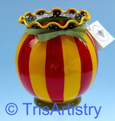 Hand Painted Glass Globe Vase Red & Yellow by TrisArtistry Painted Vases, Hand Painted, Glass Globe, Yellow Stripes, Vintage Shops, Polka Dots, Black And White, Pretty, Red