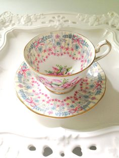 English Fine Bone China Demitasse Cup and by MariasFarmhouse