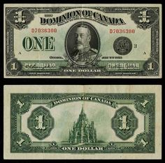Description: A beautiful extremely fine banknote from the Dominion of Canada. This is the one dollar banknote dated July 1923 and signed by Campbell and Sellar. This large banknote is the black se Old Coins, Rare Coins, Money Notes, Canadian Coins, Rare Stamps, Old Money, Canada, One Dollar, Coin Collecting