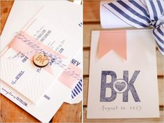 pink and navy wedding stationery.. Wrong pink but it's still cute