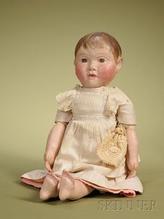 Shepherd Philadelphia Cloth Baby, c. with molded and painted stockinette shoulder head, lower arms, and le. Doll Toys, Baby Dolls, Vintage Paper Dolls, Old Dolls, Child Doll, Dollhouse Dolls, Antique Toys, Fabric Dolls, Beautiful Dolls