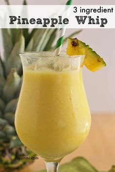 This 3 ingredient pineapple whip recipe is a healthier version of the you can get at the Disney theme parks! Made with fresh pineapple and low in sugar! Juice Smoothie, Smoothie Drinks, Healthy Smoothies, Healthy Drinks, Smoothie Recipes, Healthy Snacks, Healthy Recipes, Easy Recipes, Healthy Juices