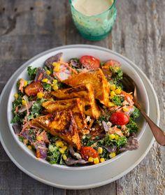 BBQ Tofu Corn Kale Ranch Salad