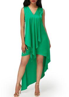 Asymmetric Hem V Neck Green Sleeveless Dress on sale only US$34.90 now, buy cheap Asymmetric Hem V Neck Green Sleeveless Dress at liligal.com