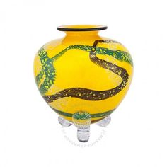 Ioan Nemtoi Amphora Yellow Glazed Glass Vase IN0708VL