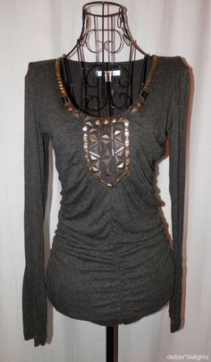 CABI TOP M Medium Gray Knit Long Sleeve Gold Beads Gathers Stretchy *FLAW* #CAbi #KnitTop #Casual