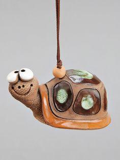 Kleine keramische Bell: Lady-vogel kikker slak Turtle.