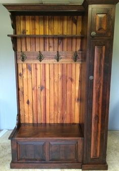 Entryway Hall Tree Storage Bench - Ideas on Foter Entryway Hall Tree Bench, Hall Tree Storage Bench, Door Hall Trees, Entry Bench, Rustic Furniture, Diy Furniture, Luxury Furniture, Rustic Hall Trees, Rustic Closet