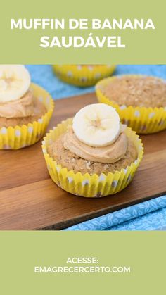 Muffin de Banana com Especiarias Termogênicas – Typical Miracle Clean Eating Snacks, Healthy Snacks, Low Carb Recipes, Cooking Recipes, Healthy Recipes, Food Porn, Chocolate Fat Bombs, Food And Drink, Dessert Recipes