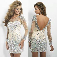 Crystal Beads Sheath Scoop Neckline V Backless Short Sexy Long Sleeves Cocktail Dresses Ho...
