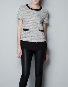 FANTASY TOP WITH CHAIN AND CREPE HEM - T-shirts - Woman - ZARA United States