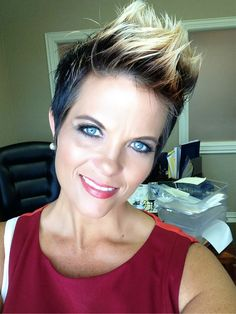 Pixie cut styled into Mohawk. Color ombréd from darkest brown - medium brown - blonde