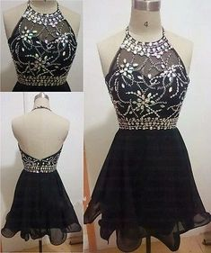 charming homecoming dress, beading homecoming dress, halter prom