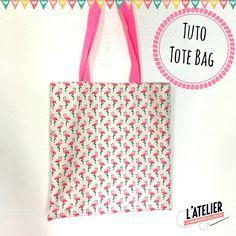 Tote Bag facile flamants roses par l'atelier de la creation : tuto couture très simple