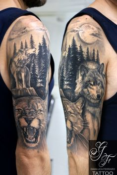#tattooartwork #tattoopassion #bestoftheblackandgray #tattoocampania #tatuaggibiancoenero #migliore #tattoosculpture #londonart #londontattoo #tattoonaples #napolitattoo #londonartist #londonink #bestink #londontattooartist #tattooanimal #animaltattoo #wolf #lupo #ghepardo #cheetah #giaguaro #coverup #tattoowolf #animali #animal #moon #tattooarm