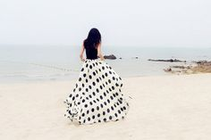 Polka Dot Chiffon Skirt Extra Long Cool Summer by TavassoliDesigns, $120.00
