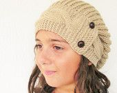 3 Sizes Hat Knitting PATTERN  Instant Download Knitting  pattern- Cable Knit hat  Pattern - Slouchy  Hat with Buttons  Knit Pattern