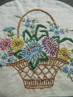 Vintage Irish Linen TEA Cosy Cover Flower Basket Hand Embroidery