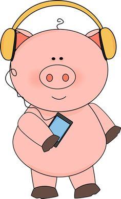 Pig Listening to Music