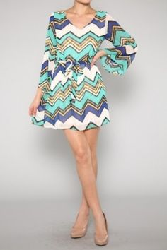 V-neck Missoni Dress Look Cool for summer!!salediem.com ships FREE $79