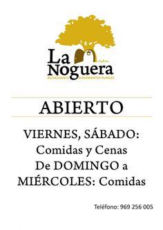 Horarios Restaurante La Noguera