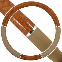 """Custom & Unique {Universal 14.5 to 15.5"""" Inch Fit} Tight Grip """"Fitted"""" Steering Wheel Protector Cover Made of Synthetic Leather with Fancy Wood Grain Handle Design {Corolla Brown & Tan Colored} mySimple Products http://www.amazon.com/dp/B016LFHQVI/ref=cm_sw_r_pi_dp_3IvOwb1XKDFRC"""