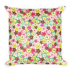 Colorful Flowers Square Pillow - $1585.00 USD