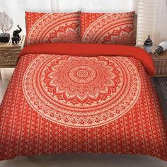 Silver Lotus Mandala Bedding Flat Bed Sheets Indian Double Size Bedspread Set