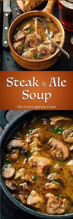 This one sounds fantastic. I'm thinking I'll definitely be trying this one during the coming winter. dinner for 2 people Steak and Ale Soup with Mushrooms Cooker Recipes, Beef Recipes, Soup Recipes, Dinner Recipes, Healthy Recipes, Recipies, Easy Recipes, Chicken Recipes, Healthy Soup