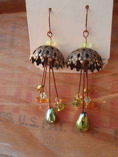 Green Umbrella Earrings