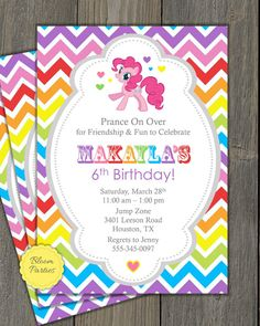 MY LITTLE PONY INSPIRED BIRTHDAY INVITE Printable Invitation This listing is for a invitation file customized with your party information, ready