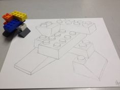 Contour Line Drawing of Lego Sculpture