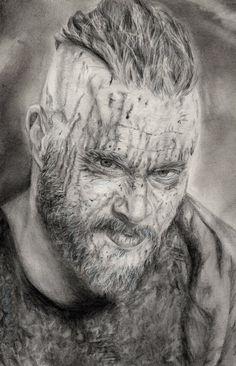 "Pencil drawing of Ragnar Lothbrok from ""Vikings"" #vikings #drawing"