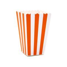 Orange Striped Popcorn Boxes, 12-pack (($))
