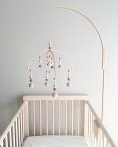 Baby mobile crib baby mobile holder crib pink dusty pink nursery decor wool baby girl