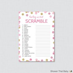 Pink and Gold Baby Shower Word Scramble Game in by ShowerThatBaby