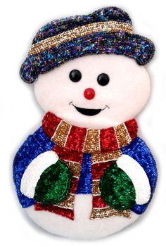 Muñeco de nieve bordado con lentejuela.