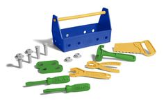 Green Toys Tool Set - Blue and thousands more of the very best toys at Fat Brain Toys. Turn work play into good green fun with the Green Toys Tool Kit. Little ones find that no job is too big with the 15 piece tool set and stu. Sesame Street Toys, Fine Motor Skills Development, Plastic Milk, Phillips Screwdriver, Green Toys, Tool Set, New Toys, Save Energy, Cool Toys