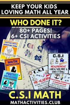 Teaching math to your students can be fun when you use these CSI math activities or worksheets. These CSI math activities will engage your elementary or middle school students as they use math to figure out who committed the crime. These math mysteries ca