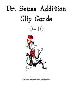 Seuss theme clip cards-