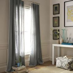 West Elm Narrow Frame Window Panel, Linen Cotton with contrasting trim. No longer available, but very make-able