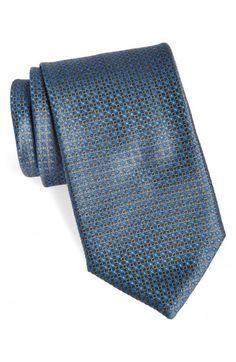 Canali Geometric Woven Silk Necktie Black Regular | Neckwear and Accessory