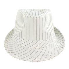 Amazon.com: Faddism HAT-58WHT-039 Fashion Fedora Hat White Stripe in White Base Design: Sports & Outdoors