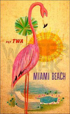 TWA Airlines 1950s Miami Beach Florida Pink Flamingo Vintage Poster Art Print