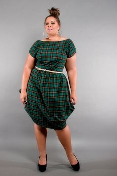 Fashion Bug Plus Size 1950s Style Grey Plaid Dorothy Swing Dress ...