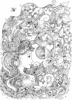 Doodle Coloring pages Fairy Coloring Pages, Free Adult Coloring Pages, Colouring Pics, Doodle Coloring, Mandala Coloring, Printable Coloring Pages, Coloring Books, Colorful Drawings, Colorful Pictures