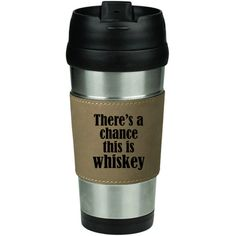 16 Oz Stainless Steel & Leather Insulated Travel Mug Coffee Cup... ($15) ❤ liked on Polyvore featuring home, kitchen & dining, drinkware, mugs, drink & barware, grey, home & living, stainless steel coffee cup, double wall travel mug and stainless mug