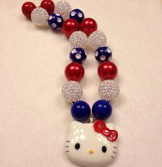 Fourth of July Hello Kitty Chunky bead necklace, 4th of July Hello Kitty Bubblegum Bead Necklace on Etsy, $18.00