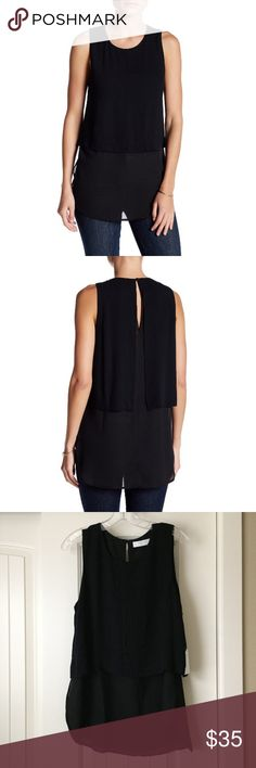 "ASTR Popover Layer Blouse ASTR black popover layered sleeveless Blouse. Top layer is approximately 19"" long and the overall length is 30"". Has a super cute back, comes with extra button! New with tags! ASTR Tops Tank Tops"