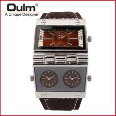 Find More Casual Watches Information about Fashion Oulm 9525 Men's 3 movement Rectangle Leather Strap Sports Quartz Watches Multi Time Zone Men's Wristwatches,High Quality wristwatch phone,China watch tv cell phone free Suppliers, Cheap wristwatch camera from Troilus Brand Watch on Aliexpress.com